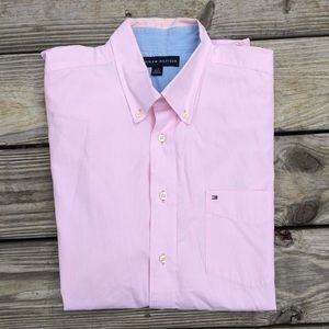 Tommy Hilfiger Men's Pink Button Down Shirt Large